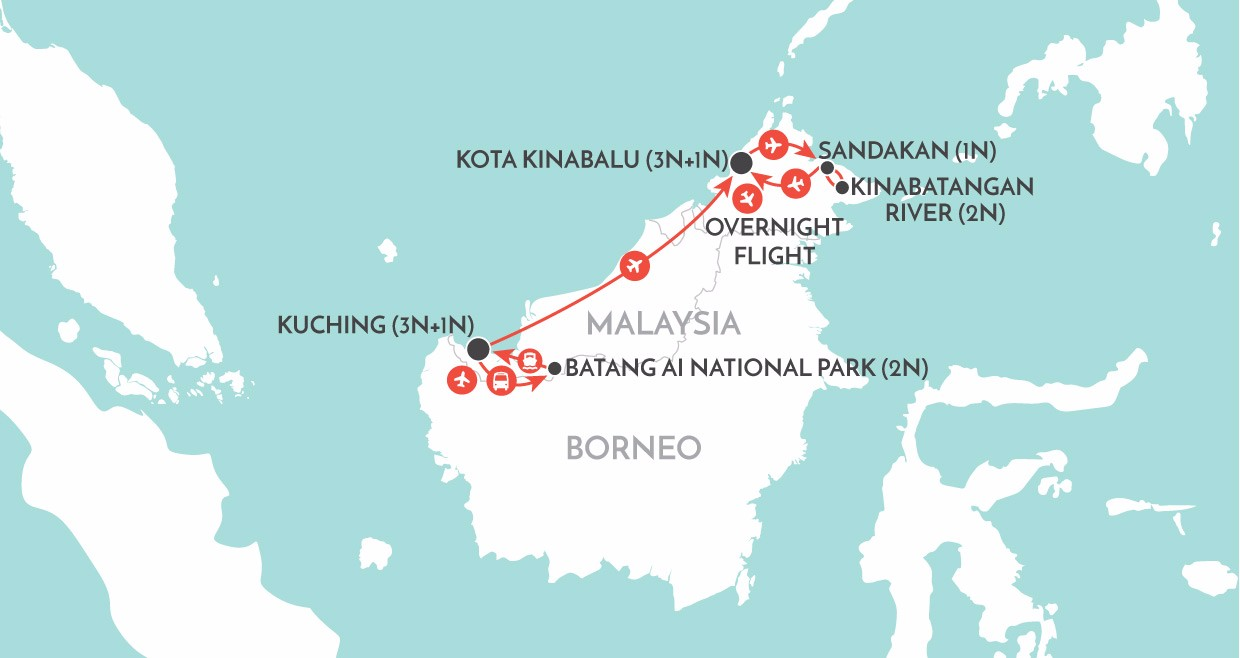 Best of Borneo map