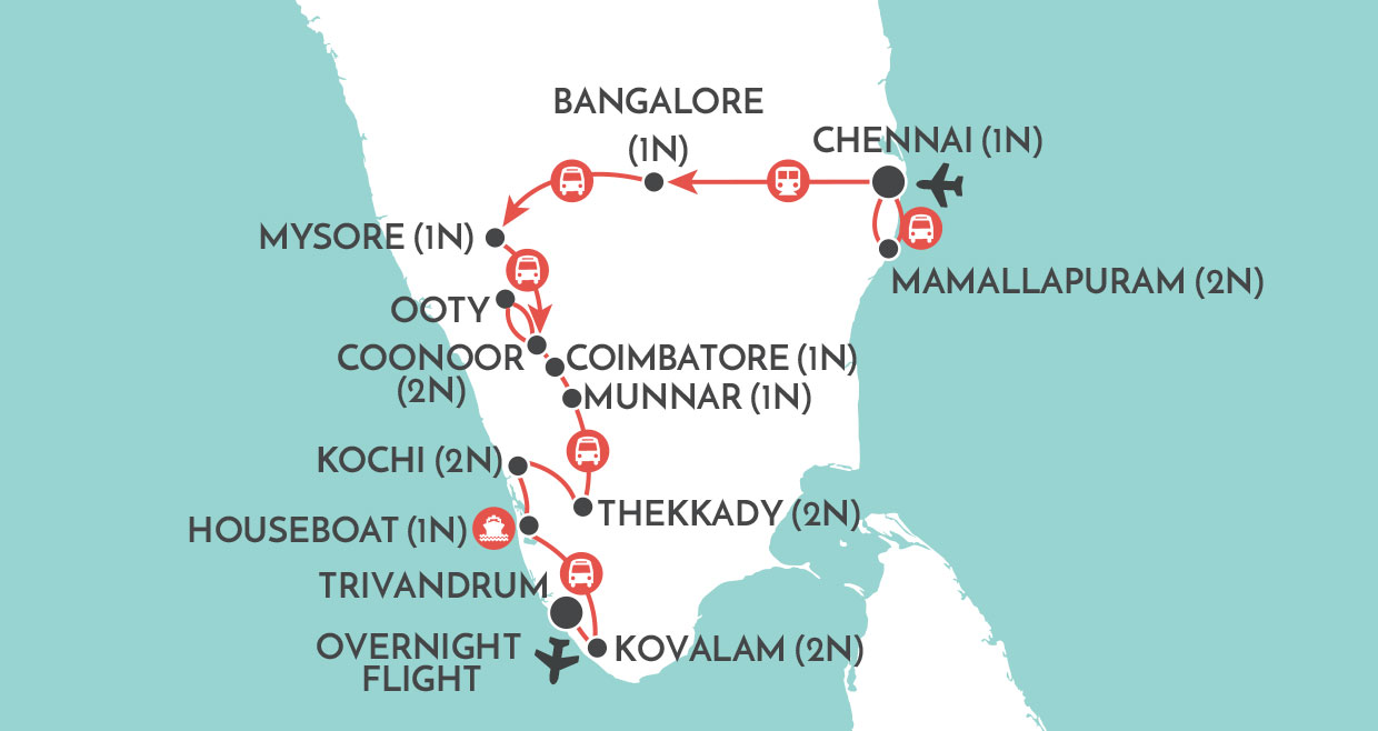 Kerala and the Southern Highlights map