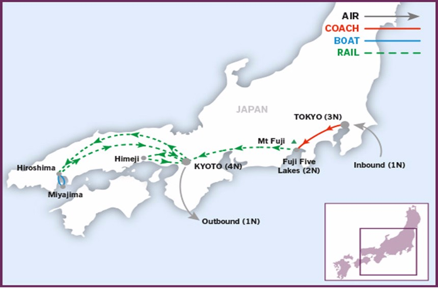 Jewels of Japan map